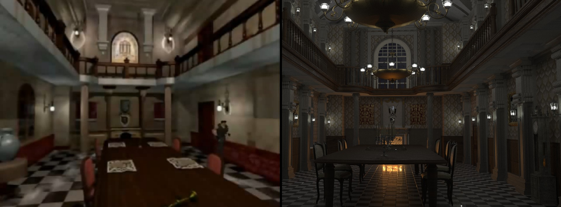 resident evil dining hall comparison architectural visualisation